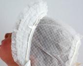 Vintage 1960's Baby Girl Bonnet - Sheer Ruffled Brim