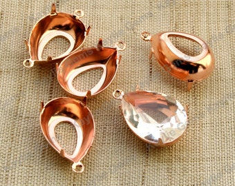 Tear Drop Pear 18x13 Prong Setting Rose Gold Plated Open Back - 1 Ring / 2 Ring