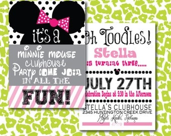 DIY Minnie Mouse Clubhouse Birthday Fun Invitation