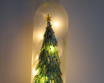 Decorated Christmas Tree Frosted Lighted Bottle