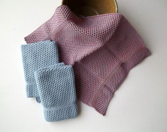 Dish Cloths/Wash Cloths Knit in Cotton in Salmon/Mauve/LtBlue and Cape Blue