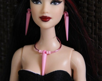 "Pink Spike Gothic Doll Jewelry Set for 11 1/2""  12 inch Fashion Dolls 1/6th Scale OOAK"