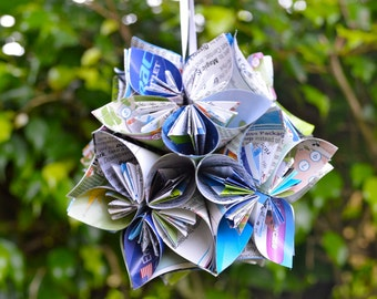 Disney World Epcot Park Map Small Paper Flower Pomander Ornament