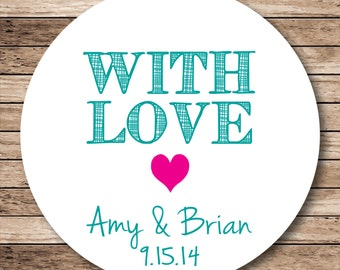 With Love (heart) . Personalized Stickers, Labels or Tags