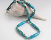 Aqua Blue Ocean Jasper Beaded Necklace, Southwest Style, Handmade by Harleypaws, SRAJD