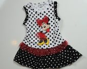 Upcycled Minnie Mouse tshirt Tank top dress t shirt Knit dress Size 3t Ready To Ship