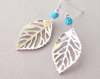 Silver leaf earrings with Swarovski crystal elements, delicate filigree