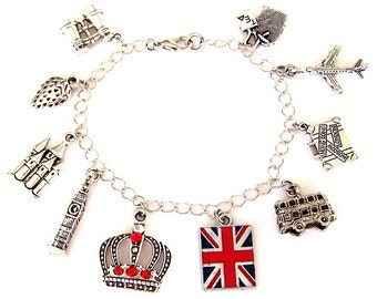 London charm bracelet, England bracelet, travel, Love London, British flag, Big Ben, Strawberry Fields