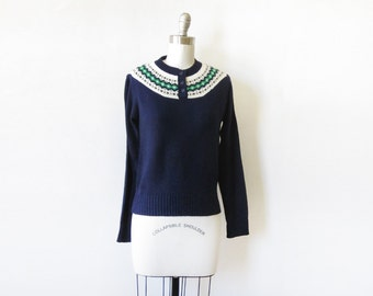 navy fair isle sweater, 1980s nordic sweater, 80s pullover knit sweater, small medium