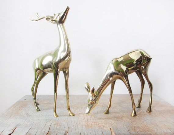 vintage large brass deer figurines / holiday centerpiece / christmas decor