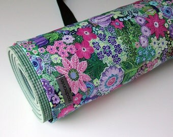 Yoga Mat Bag, Pretty, Flowers, Womens Yoga Bag, Jungle Floral in Pink, Purple, and Green