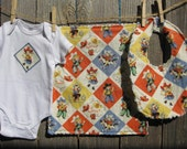 Cowgirl Baby Gift Set - Giddy Up - includes Baby Bodysuit, Bib, Burp Cloth - Size NB-12 months