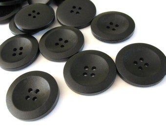 Black Wooden Sewing Buttons 30mm - set of 6 natural wood button  (BB229)