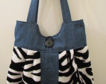 Denim and Zebra Purse