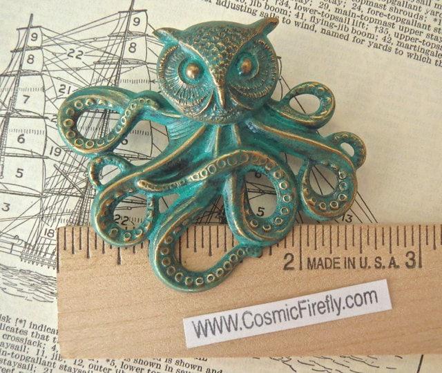 Verdigris Steampunk Owl Octopus Brooch