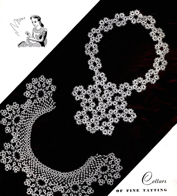 Vintage Tatting Patterns Motifs Insertions | Luncheon Refreshment Sets Mats Tatted Jewelry Set | Towel Linen Delicate Collars Cuffs Edges