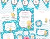 Mermaid Party Printables Instant Download - The Abigail Collection