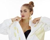90s Gold Blazer Jacket Vintage 1990s 80s Bedazzled Gems Oversized Coat Glitz Glam Indie Retro New Wave Electro Hip Hop  L Large XL