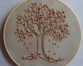 OOAK Embroidery Hoop Art, Free form Embroidered Tree