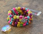 Pastel Combo: Acai Beads Bracelet Colorful Acai Beads Memory Wire Bracelet / Eco friendly Jewelry, Organic Beads, Acai Seeds / Handmade