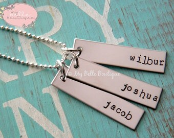 Triple Rectangle Tag Necklace Personalized With Names Hand Stamped