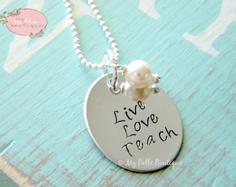 Live Laugh Love Hand Stamped Oval Necklace with Ivory Swarovski Pearl Charm Personalized