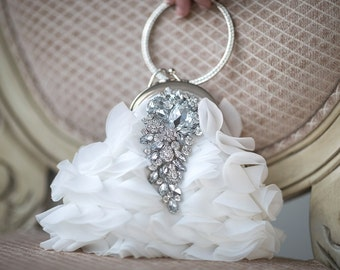 Bridal Purse, Wedding Handbag, Diamond White Chiffon purse
