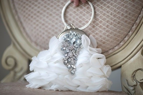 Bridal Purse, Wedding Handbag, Diamond White Chiffon purse