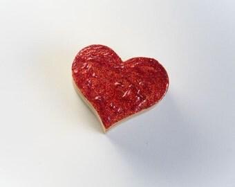 Red Wedding Heart Ring Bearer Box - Customized Pillow Alternative Handmade Valentine