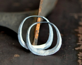 square silver hoop earrings, sterling silver cushion shape hoops, available in your choice of texture and finish