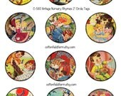 Vintage Nursery Rhymes 2 Inch Circle Tags for Cupcake Toppers, Tags, Scrapbooking, Cards, Journaling Spots, Altered Art, Decoupage