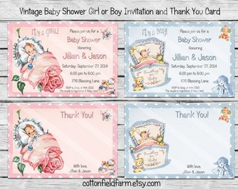 Vintage Baby Shower Invitation and Thank You Card Personalized Digital Download C-585 Baby Girl or Baby Boy