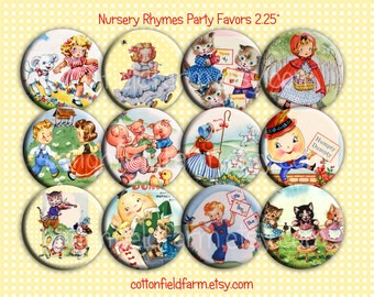 Nursery Rhymes Pin Back Buttons, Mirrors, Magnets or Key Chains for Party favors, Showers, Retro Parties, Birthday Party Favors, Set of 12