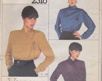Vogue 2316 Misses'  Front Wrapped Blouses Size 8 Versace Design Vintage UNCUT Pattern