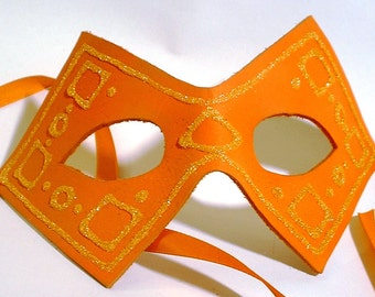 Orange Leather Mask with Glitter Accents