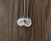Personalized Initial Necklace, Monogram Necklace, Birthstone Jewelry, Custom Mother Necklace, Custom Grandma Necklace, Mother's Day Necklace