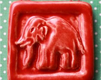 Red Elephant Tile Pendant - Hand Carved Ceramic Focal Pendant