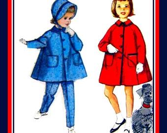 Vintage 1960-Sunday Best-A -Line Coat -Patch Pockets-Toddler Sewing Pattern-Tapered Suspender Pants -Brimmed Bonnet -Uncut- Size 2 -Rare
