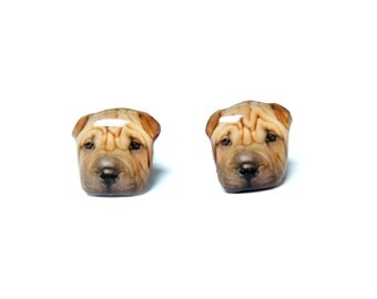 Brown Shar Pei Dog Stud Earrings / Shar Pei earrings / Dog earrings / dog jewelry / memorial / Dog lover / animal earrings / gift A025ER-D41