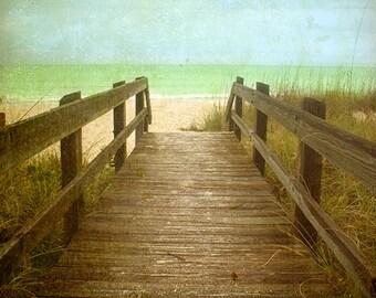 Twenty One Steps to the Beach  Art Print.  Boardwalk to the beach, florida, baby blue, lime green ocean. Landscape photography.