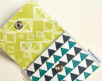 Snap Change Wallet- Geometric Teal