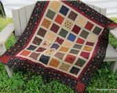 Patchwork Lap Quilt, Sofa Quilt or Quilted Throw  Kansas Trouble Quilters