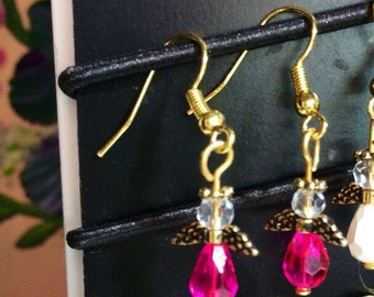 Minimal, Tiny,Very Small, It's y Bits y  Antique Gold Fuchsia  Colored Glass Faceted Angel Earrings