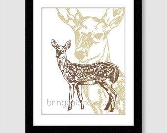 Woodland Animal Deer Illustration Wall Art Print 8X10 home decor, bedroom or nursery