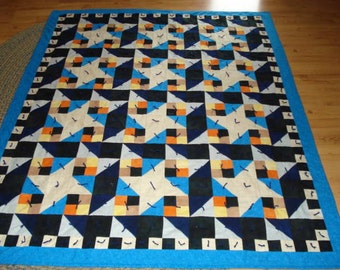 Handmade Flannel Quilt Hand Tied Traditional Pattern Blue Flannel Fabric Cream Stars