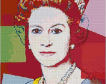 Andy Warhol Queen Elizabeth Counted Cross Stitch Pattern