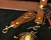 Steampunk  Belt Accessory Swivel Snap Hook Belt Loop gadget hanger, D rings Chocolate Brown leather, brass hardware / SCA LARP Renfaire