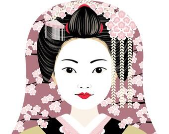 Japanese Geisha Wall Art Print featuring traditional dress drawing in a Russian matryoshka nesting doll shape