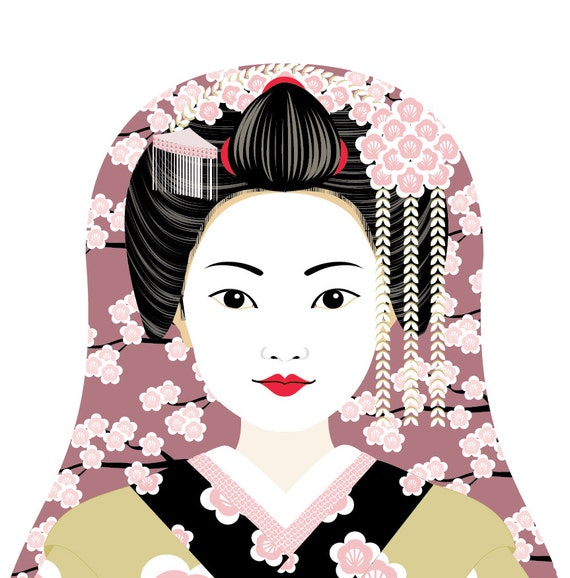 Japanese Geisha Wall Art Print featuring traditional dress drawing in a Russian matryoshka nesting doll shape