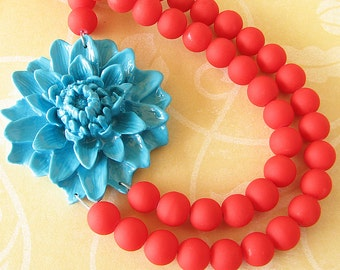 Beaded Necklace Turquoise Jewelry Red Statement Necklace Flower Necklace Red Necklace